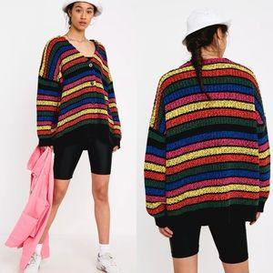 Lazy Oaf Rainbow Stripey Oversized Button Sweater